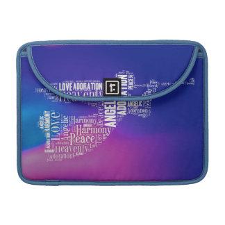 Heavenly White Angel Wordcloud on Blue Pink Sleeve For MacBook Pro