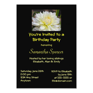 Heavenly White Dahlia Birthday Invitation