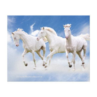 Heavenly White Horses Canvas Gallery Wrap Canvas