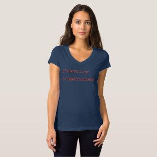 Heavily Meditated V-neck Womens cap sleeve Tee