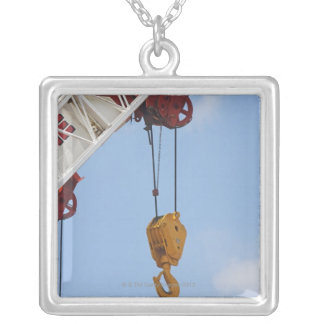 Heavy construction equipment silver plated necklace