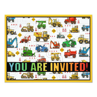 "Heavy Equipment Theme Kids Party Invitation 4.25"" X 5.5"" Invitation Card"