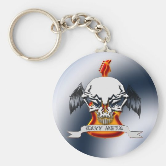 Heavy Metal Basic Round Button Key Ring