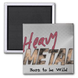Heavy Metal metallic design Square Magnet