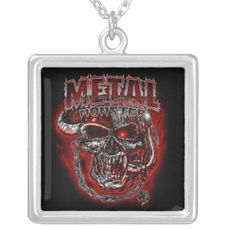 Heavy Metal Monster Square Pendant Necklace