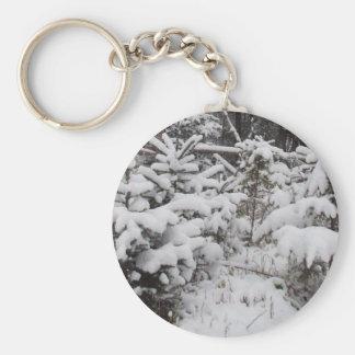 Heavy Snow on Small Pine Trees Key Ring