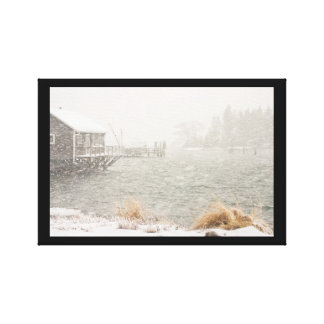 Heavy Snowstorm in Bass Harbor, Maine Gallery Wrapped Canvas