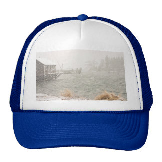 Heavy Snowstorm in Bass Harbor, Maine Hats