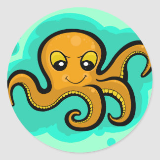 Heba the Octopus Character Classic Round Sticker