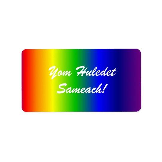Hebrew Birthday Rainbow Colours Label Address Label