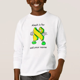 Hebrew Cartoon Alef Character Long Sleeve Tee