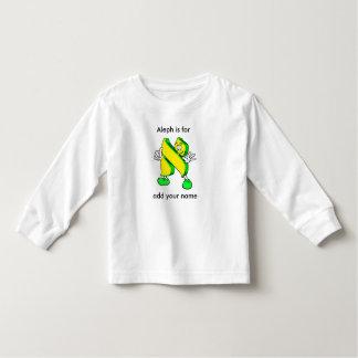 Hebrew Cartoon Alef Character Toddler Long Sleeve Tee Shirts