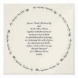 "Hebrew Jewish Wedding Invitation Gold Meallic 5.25"" Square Invitation Card"