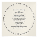 "Hebrew Jewish Wedding Invitation Ivory Metallic 5.25"" Square Invitation Card"