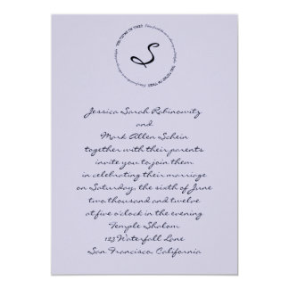 "Hebrew Jewish Wedding Invitation Lavender 5"" X 7"" Invitation Card"