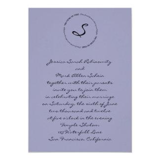 Hebrew Jewish Wedding Invitation Lavender