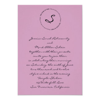 "Hebrew Jewish Wedding Invitation Mauve 5"" X 7"" Invitation Card"