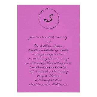 Hebrew Jewish Wedding Invitation Pink