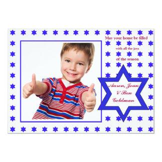 Hebrew Star Holiday Photo Card 13 Cm X 18 Cm Invitation Card