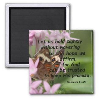 Hebrews 10:23 square magnet
