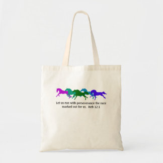 Hebrews 12:1 Horses Budget Tote Bag