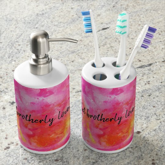 Hebrews 13 soap dispenser and toothbrush holder