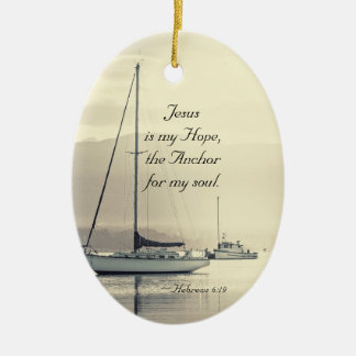 Hebrews 6:19 Jesus Anchor for my soul, Sailboats Christmas Ornament