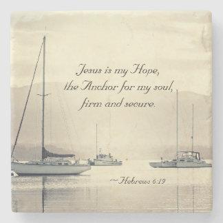 Hebrews 6:19 Jesus Anchor for my soul, Sailboats Stone Beverage Coaster