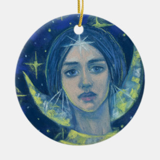 Hecate, Moon goddess, pastel painting, fantasy art Round Ceramic Decoration