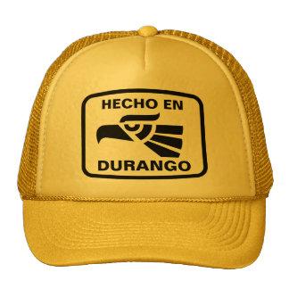 Hecho en Durango personalizado custom personalized Cap