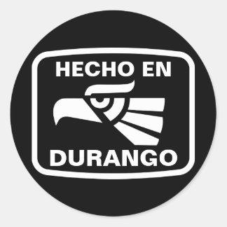 Hecho en Durango personalizado custom personalized Classic Round Sticker