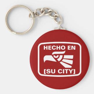 HECHO EN (SU CIUDAD) BASIC ROUND BUTTON KEY RING