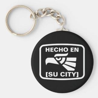 HECHO EN (SU CIUDAD) KEY CHAINS