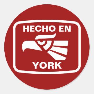 Hecho en York  personalizado custom personalized Round Stickers