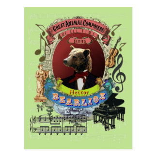 Hector Bearlioz Bear Animal Composer Berlioz Postcard
