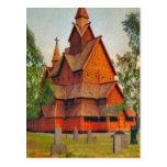 Heddel Stave church, Telmark, vintage Norway Postcard
