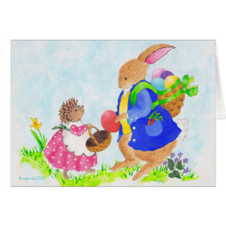 heddy hedgehog and the Easter bunny Card