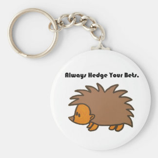 Hedge Your Bets Hedgehog Cartoon Drawing: Basic Round Button Key Ring