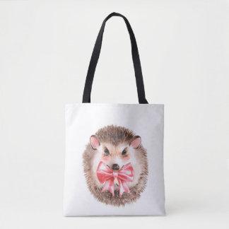 Hedgehog and bow tote bag