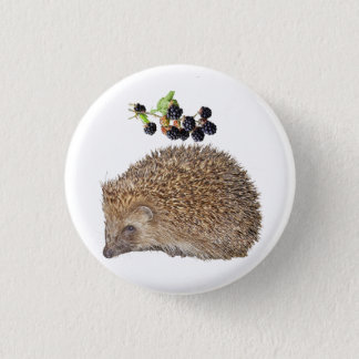 Hedgehog and bramble badge. 3 cm round badge