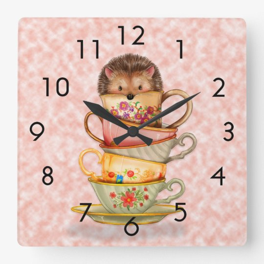 Hedgehog and Colourful Teacups on Pink Wall Clock