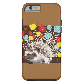 hedgehog and flowers tough iPhone 6 case