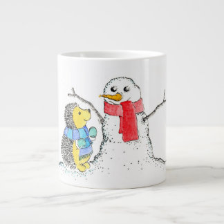 Hedgehog and Snowman Large Coffee Mug