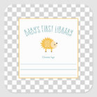 Hedgehog Baby's First Library bookplate Square Sticker