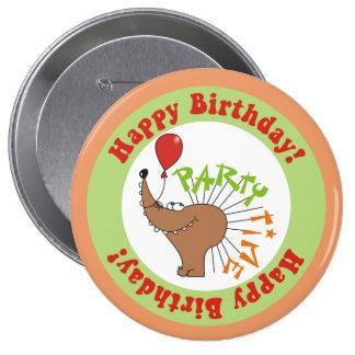 Hedgehog & Ballon Happy Birthday Round Button