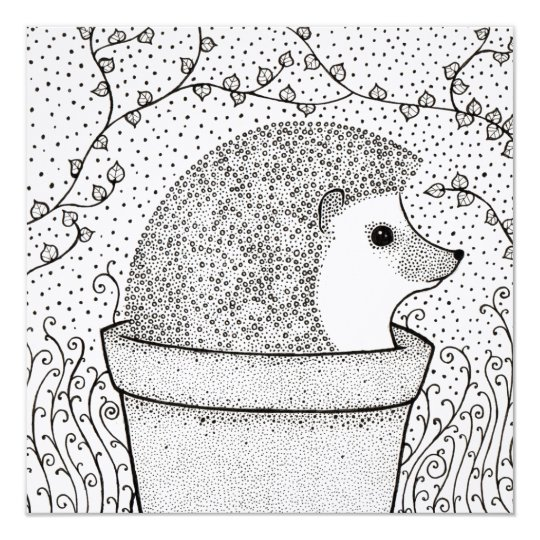 Hedgehog Blank Square Card, Beautiful, Illustrated Card