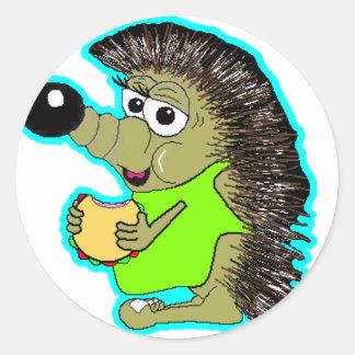 hedgehog blue classic round sticker