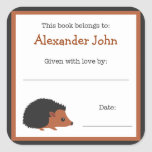 Hedgehog book plate - Forest Animals bookplate Square Stickers