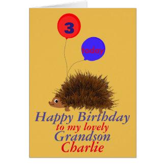 Hedgehog cartoon Birthday Grandson add name age Greeting Card