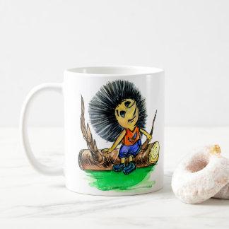 Hedgehog, character, sits on a log and thinks abou coffee mug